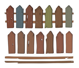Wooden fence cartoon