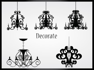 Lamps and chandeliers vector