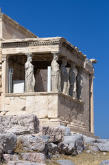 The temple with the Caryatids in Athens, Greece