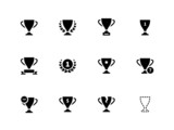 Trophy icons on white background.
