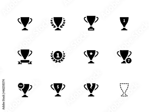 Trophy icons on white background. - 66258374