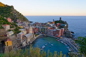 Village of Vernazza at dusk in Cinqueterre, Italy