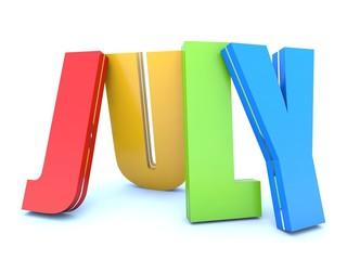 July - calendar month - 3D colored letters
