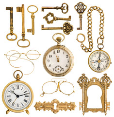 golden antique accessories. vintage keys, clock, compass, glasse