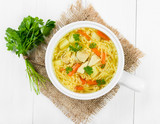 Soup with noodles and chicken - 66259571