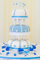 Impressive Blue and White 3 Tier Wedding Cake
