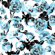Monochrome Seamless Pattern with Vintage Roses