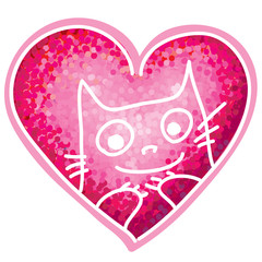 Painting, pink heart, with funny cartoon cat. Vector illustratio
