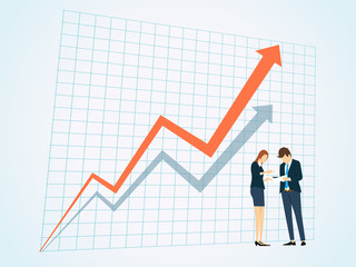Business People on business graph background