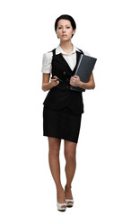 Full length portrait of business woman with folder