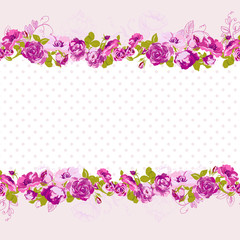 Seamless Border of blossom roses.
