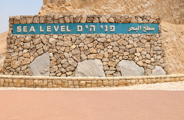 Sea level pointer at the way to the dead sea. Israel.