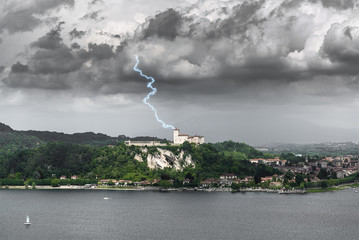 Lightning over the Fortress of Angera, Varese