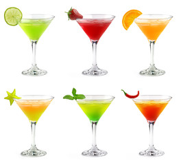 colorful martini cocktails