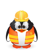 Penguin with construction outfit