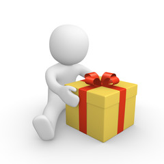 3d human with gift box