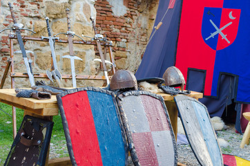 Medieval armour and fighting equipments