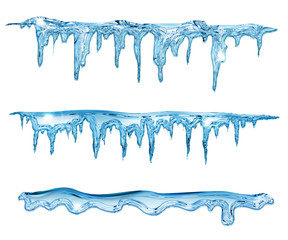 set of blue icicles