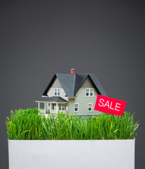 Close up of home model with green grass and sale tablet