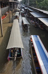 Thailand, Bangkok: boats at the Floating Market - EDITORIAL