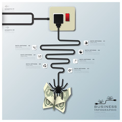 Spider Web With Money Butterfly Electric Wire Line Business Info
