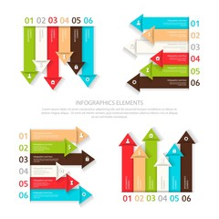 Set of vector design elements six options for infographic