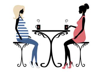 Silhouette of two fashionable pregnant women