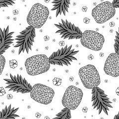 Seamless pattern with pineapples.  Vector illustration
