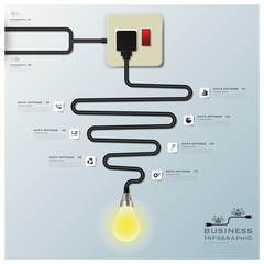Light Bulb Electric Wire Line Business Infographic