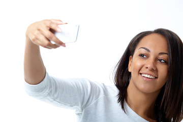 mulatto girl with mobile phone