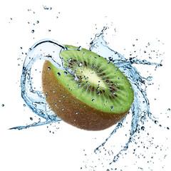 Fresh Kiwi with water splash