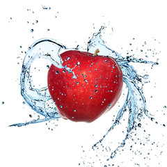 Fresh red apple with water splash