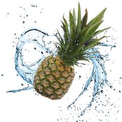 Fresh Pineapple with water splash