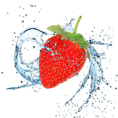 Fresh Strawberries with water splash