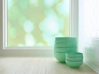 ceramic plates on tabletop.