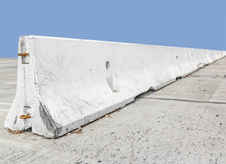 Long concrete traffic barrier, perspective view