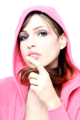 Sensual brunette with pink hoodie fitness