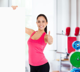 sport fitness woman blank board copy space