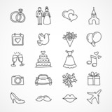 Fototapety Vector wedding icons, bride, groom, couple, love, marriage