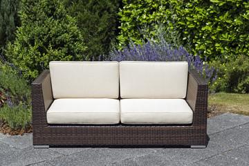 Outdoor garden furniture rattan sofa on terrace