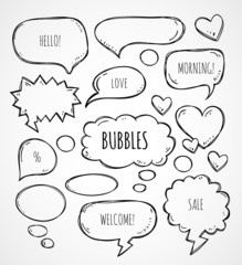 Vector hand drawn speech bubbles clouds thought bubbles