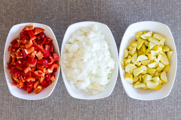 Fresh chopped vegetable cooking ingredients