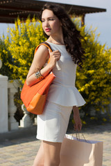 Beautiful girl with shopping bags on the beach