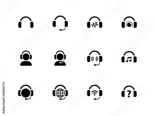 Headphones icons on white background. - 66266773