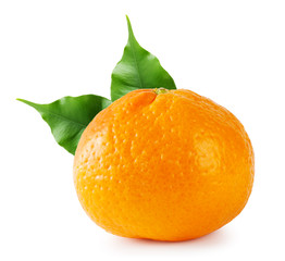 Ripe tangerine with green leaves