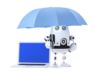 Android robot with laptop and umbrella. Isolated. Clipping path