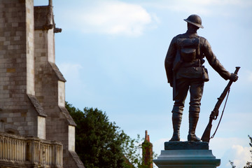 Bronze statue of a rifleman outside Winchester Cathedral