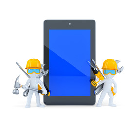 Construction workers with tablet pc. Isolated. Clipping path