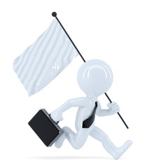Businessman running with flag. Isolated. Clipping path