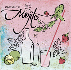 Strawberry MOJITO / Summer drink on the sandy beach